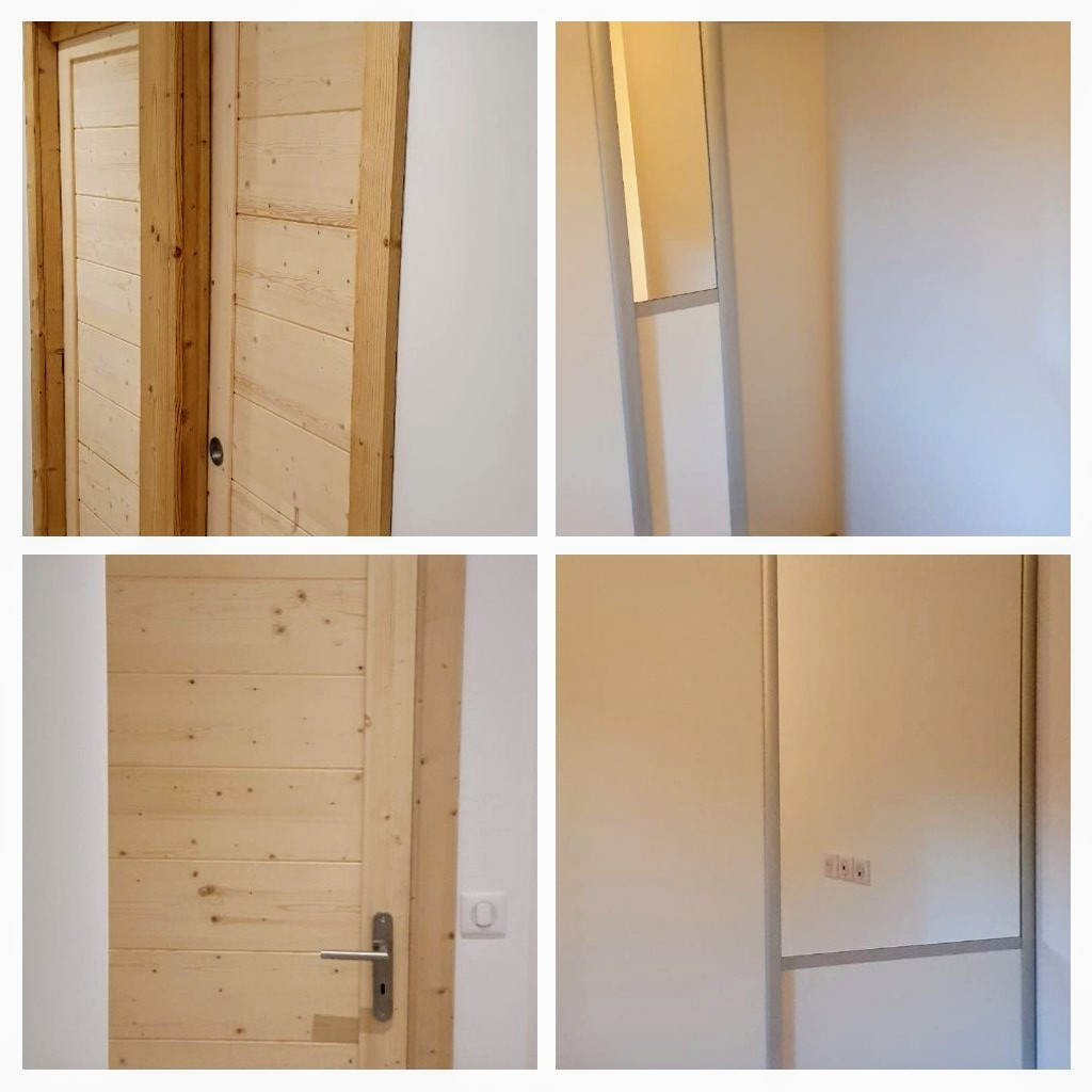 Mise en place cloisons, portes, placards...