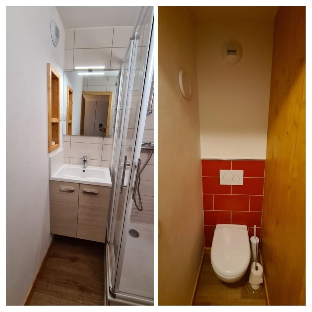 Création de deux espaces salle d'eau et WC dans une ancienne salle de bains wc