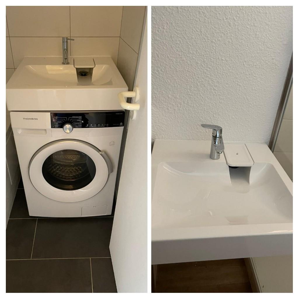 Mise en place lave linge après pose d'un lavabo spécialement adapté