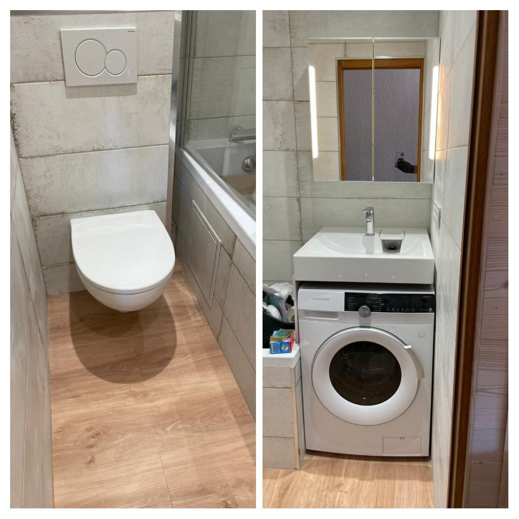 Mise en place d'un lave linge sous lavabo adapté et mise en place WC suspendu